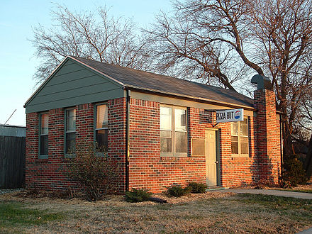 The original Pizza Hut building, which was moved to the campus of Wichita State University - Wichita, Kansas