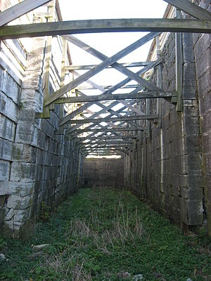 Miami and Erie Canal - Interior of one of the Lockington Locks. Braces have been installed to prevent the lock from caving in