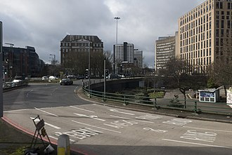 Five Ways, Birmingham - A view of the Five Ways Island from the top of the 23 bus.