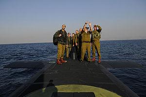 Dolphin-class submarine - Israeli soldiers standing on a Dolphin-class submarine