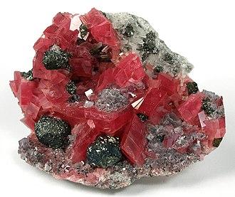 Rhodochrosite - Image: Fluorite Quartz Rhodochrosite ed 10a