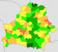 Forests share in Belarus by raions, 2014.png