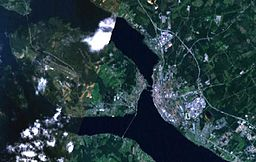 Satellitbillede over Frösön og Östersund.