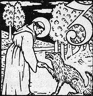 Saint Francis instructs the Wolf, engraving