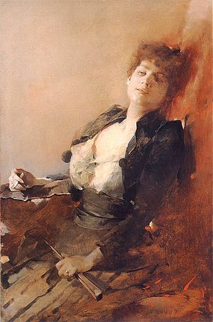 Portrait of a woman with a fan and a cigarette.