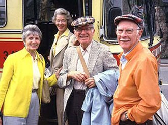 Frank Thomas (animator) - Frank Thomas (center) with best friend Ollie Johnston and their wives in 1985