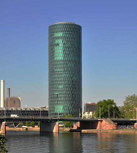 Westhafen Tower, home to the European Insurance and Occupational Pensions Authority (EIOPA) Frankfurt Westhafen Tower 2011a.jpg