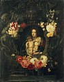 Frans Ykens - A Garland of Flowers surrounding a Medallion of the Virgin and Child.jpg