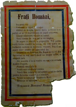Battle of Transylvania - Airborne leaflet spread over Braşov in August 1916, calling on the local Romanian population to support the Romanian Army offensive