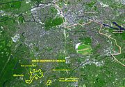 Satellite photo of Berlin. The location of the FUB is marked in yellow.