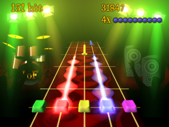 "Rhythm game - Many rhythm games, such as Frets on Fire, use a scrolling ""note highway"" to display what notes are to be played, along with a score and a performance meter."