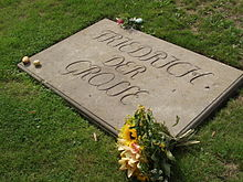 Grave of Frederick at Sanssouci where he was buried only after the German reunification (he wished to rest next to his dogs, but this was originally disobeyed) (Source: Wikimedia)
