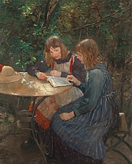 The daughters of the artist / Two girls in the garden