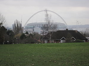 Wembley Park - View of the stadium from near the peak of Barn Hill, 2007