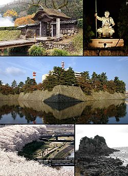 From top left: Ichijōdani Asakura Family Historic Ruins, Kitanosho Castle, Fukui Castle and Fukui Prefectural Government, Cherry trees along the Asuwa River, Echizen-Kaga Kaigan Quasi-National Park