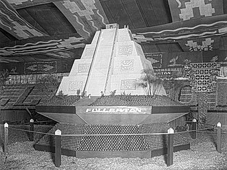 Fullerton, California - City of Fullerton's Valencia Orange Show exhibit featuring an Aztec pyramid, 1931