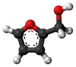 Ball-and-stick model of the furfuryl alcohol molecule