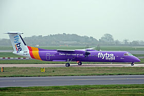 G-JECY 2 Bombardier Dash 8Q-402 FlyBe(new livery) MAN 03APR14 (13610093474).jpg