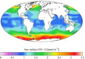Dichlorodifluoromethane - Image: GLODAP sea surf CFC12 A Yool