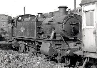 GWR 5100 Class - 8100 Class rebuild 8103 (ex 5145) at Carmarthen loco shed on 16 April 1961