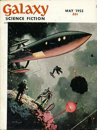 """Jack Coggins - Coggins's painting """"Mining an Asteroid"""" appeared on the cover of the May 1952 issue of Galaxy Science Fiction, his first SF magazine cover"""