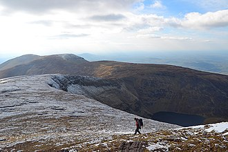 Galtymore - Western Galtees of (after a right turn) Slievecushnabinnia, Carrignabinnia, and Lyracappul (farthest); Lough Curra is in the deep corrie (near right)