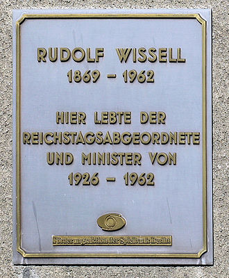 Rudolf Wissell - Commemorative plaque at Wiesenerstraße 22, in Berlin-Tempelhof