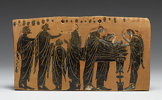 Ancient Greek funeral and burial practices - The lying in state of a body (prothesis) attended by family members, with the women ritually tearing their hair, depicted on a terracotta pinax by the Gela Painter, latter 6th century BC