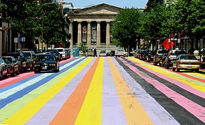 Gene Davis (painter) - Street in downtown Washington, D.C. painted in Davis' style