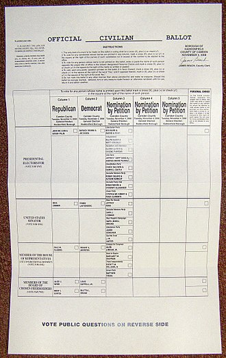 Absentee ballot - Absentee ballot for the 2008 General Election