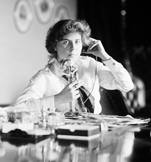 Candlestick telephone - An American candlestick telephone being used by Genevieve Clark Thomson, circa 1915