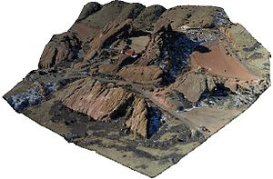 Point cloud - Geo-referenced point cloud of Red Rocks, Colorado (by DroneMapper)