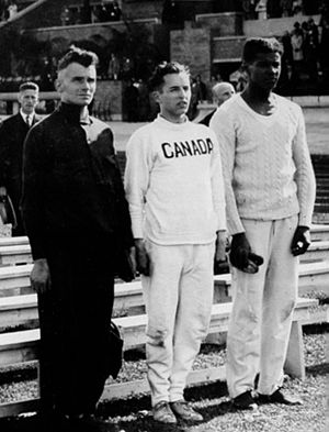 Athletics at the 1928 Summer Olympics – Men's 100 metres - Image: Georg Lammers, Percy Williams, Jack London 1928