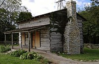 George Rogers Clark cabin reproduction at Clarksville, closeup