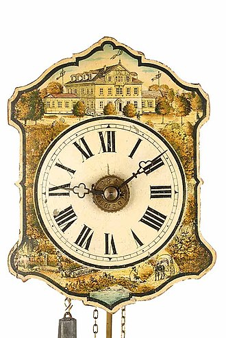 German Clock Museum - On a wall clock, the first museum building around 1880 (Inv. 2011-044)