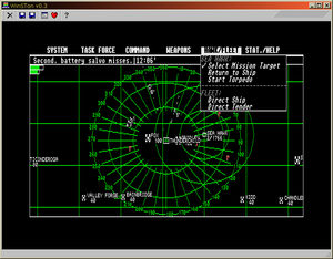 GFA BASIC - A screenshot of a GFA BASIC program running at medium resolution, under the WinSTOn emulator. Note the menu and window which were programmed with GFA BASIC using the ST's GEM functions.