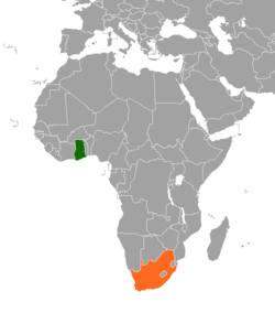 Map indicating locations of Ghana and South Africa
