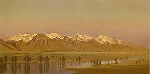 Gilbert Munger - Engraving of the Wasatch Range from Salt Lake City, ca. 1870, after a sketch by Gilbert Munger.