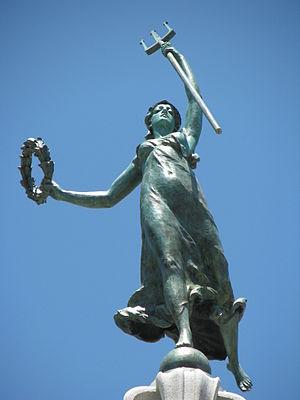 Alma de Bretteville Spreckels - Goddess of Victory atop the Dewey Monument- Alma Spreckels was the model.