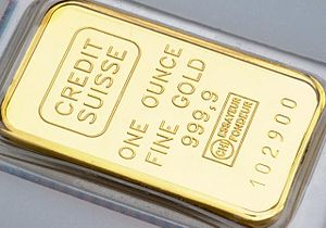 English: One ounce gold bar.