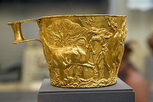 "Minoan art - Golden cup from a LH IIA Mycenaean grave at Vapheio, one of a pair known as the ""Vapheio Cups"".  This cup is believed to be of Minoan manufacture while its twin is thought to be Mycenaean. National Archaeological Museum, Athens."