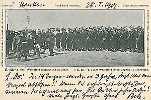Alfred von Waldersee - Postcard showing Waldersee inspecting Italian troops in China