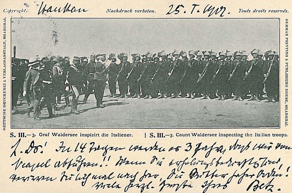 Graf Waldersee inspiziert die Italiener 1901