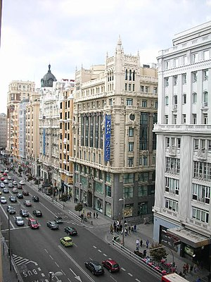 A view of the Gran Vía, a downtown avenue in M...