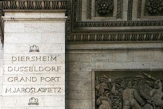 Mauritius campaign of 1809–1811 - Inscription of the Battle of Grand Port in the Arc de Triomphe.