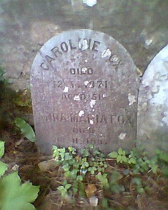 Caroline Fox - Gravestone of Caroline and Anna Maria Fox in Budock Quaker Burial Ground, Falmouth