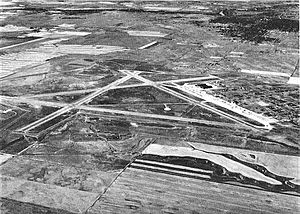 Malmstrom Air Force Base - Oblique aerial photo of Great Falls AAB, looking south-westward, about 1944