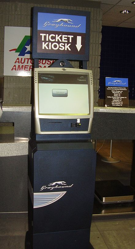 Greyhound ticket kiosk in the Houston Station in downtown Houston, Texas GreyhoundTicketKioskHoustonTX.JPG