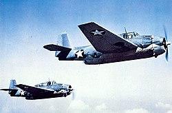 Grumman TBF-1 Avengers in flight, circa in 1942.jpg