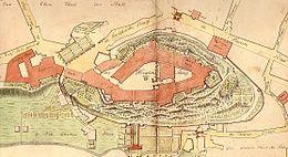 Grundriss des Schlosses von Kleve (1785) (Quelle: Wikimedia)